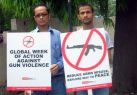 Member Dr. B Aiban Lyngdoh and Mr.Trilochan Pandey campaigning on the global week of action.