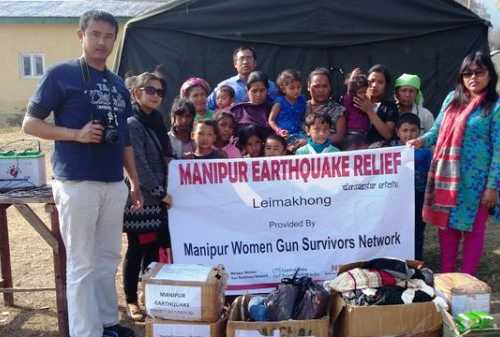 Group photo with people in the relief camp at Leimakhong, Manipur on 19th Jan 2016