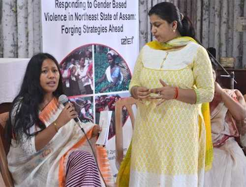 Ms Binalakshmi Nepram, founder, Manipur Women Gun Survivors Network, interacting with women during meeting