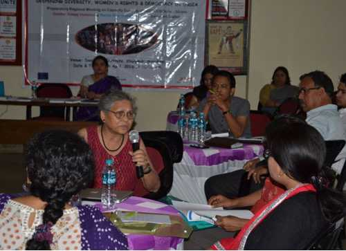 Ms Monisha Behal, founder member of North East Network, speaking at the meeting