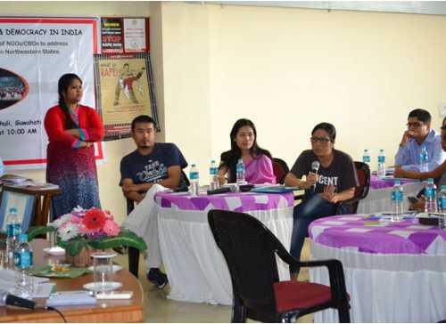 Ms. I. Lenibala, a lawyer from Manipur, sharing her thoughts during meeting