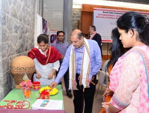 Mr. Sanjiv Nair, Director, North East Center For Technology Application & Reach, innaugurating Weaving Peace Togehter bamboo and weaving exhibition at UN, Delhi