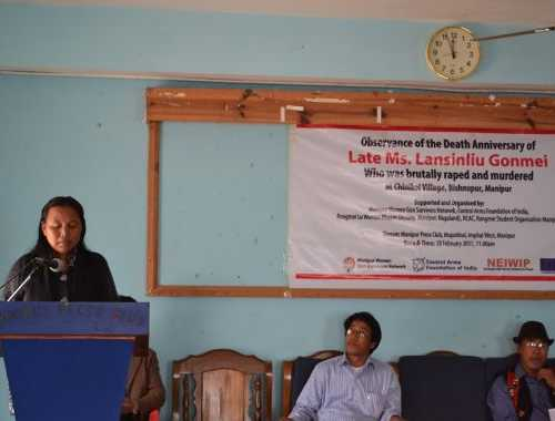 Observance of the Death Anniversary of Late Ms. Lansinliu Gonmei,Who was brutally raped and murdered at Chinikol Village, Bishnupur, Manipur