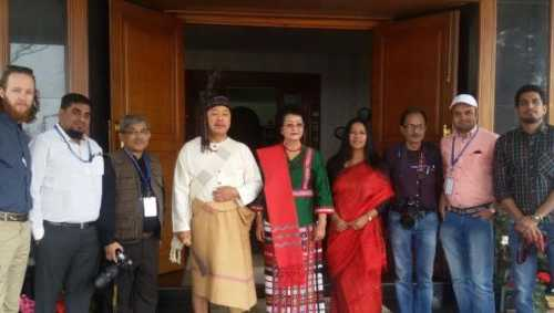 Binalakshmi Nepram with Mizoram Chief Minister Lalthanhawla and his wife at Chapchar Kut, the biggest harvest festival of Mizos - March 3, 2017