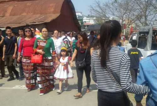 Participating in Mizoram's biggest harvest festival called Chapchar Kut on 2 March 2017