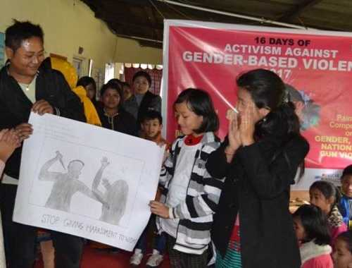 Painting Competition on Gender, United Nations and Gun Violence at Imphal. Organised by Manipur Women Gun Survivors Network - 10 Dec 2017